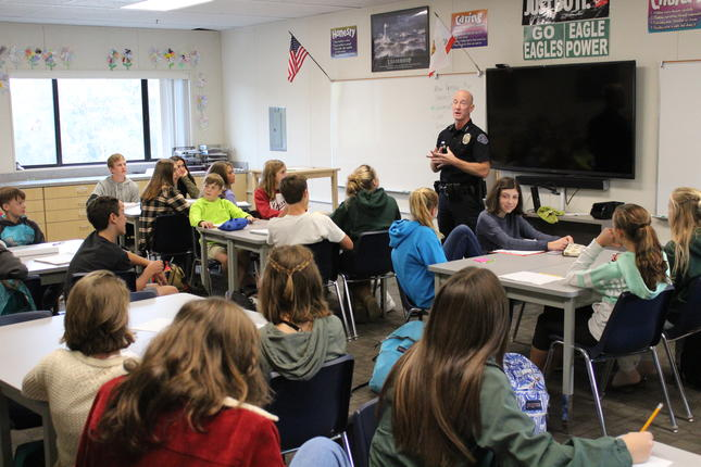 Police Chief Haley Visits TMS Leadership Class