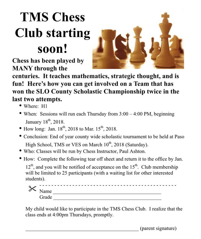 CHESS CLUB ANYONE ?