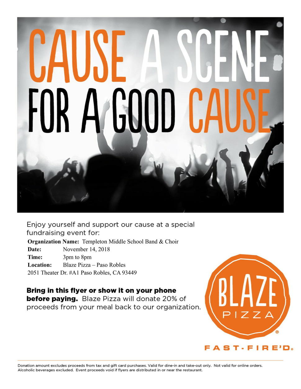 Help the TMS Band and Choir - Blaze Pizza